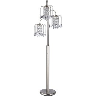 QMax Faux Crystal Brushed Steel 63-inch 3-light Adjustable Floor Lamp