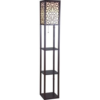 QMax 63-inch Brown Wooden Shelf Floor Lamp with Floral Shade Panels