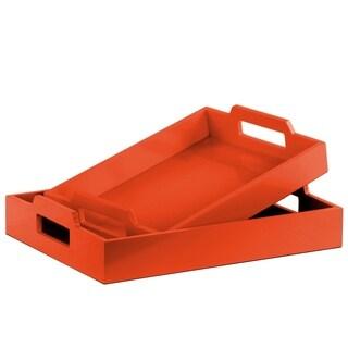 UTC32348: Wood Rectangular Serving Tray with Cutout Handles Set of Two Coated Finish Orange