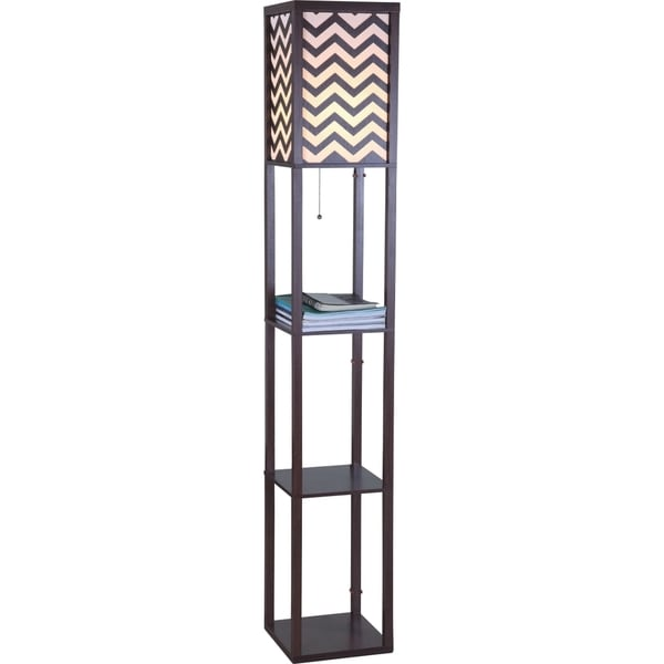 QMax Brown Wood/Metal 63-inch High Floor Lamp with Zig-zag Shade Panels