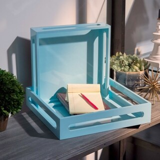 UTC32346: Wood Square Serving Tray with Cutout Handles Set of Two Coated Finish Light Blue
