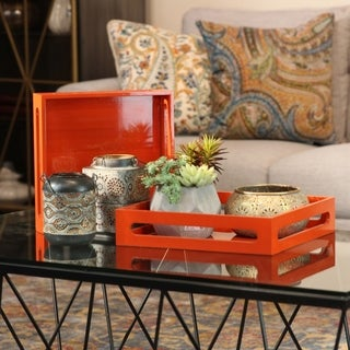 Superbe UTC32344: Wood Square Serving Tray With Cutout Handles Set Of Two Coated  Finish Light Orange