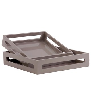 Urban Trends Collection Taupe Wood Square Serving Tray With Cutout Handles (Set of 2)