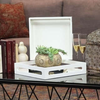 Urban Trends Collection Whute Wood Square Serving Tray (Set of 2)