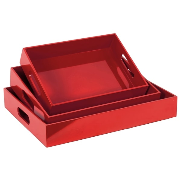 UTC32340: Wood Rectangular Serving Tray with Cutout Handles Set of Three Coated Finish Red