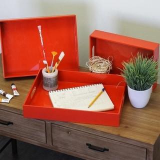 UTC32337: Wood Rectangular Serving Tray with Cutout Handles Set of Three Coated Finish Red Orange