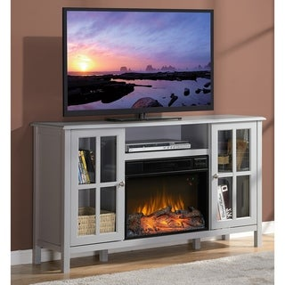 Homestar Langley Grey 55.5-inch Wide Media Fireplace