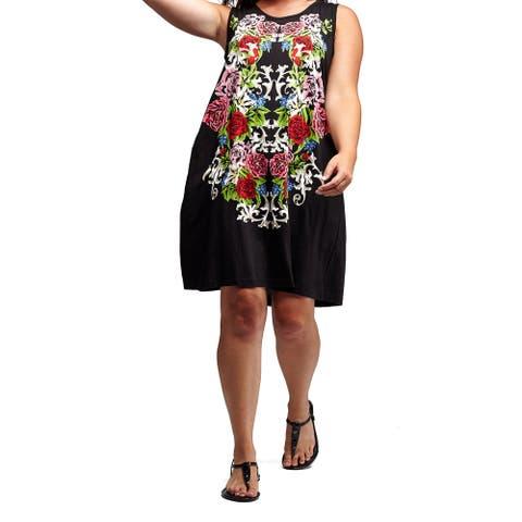 La Cera Women's Black Cotton Knit Plus-size Sleeveless Dress