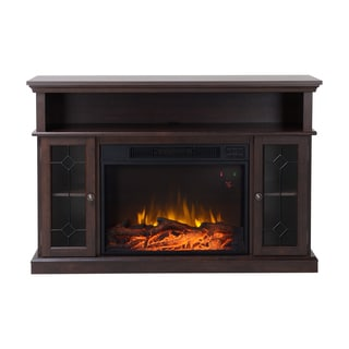 Homestar Orleans Rich Java Brown Glass/Metal/MDF 51.5-inch Wide Media Fireplace