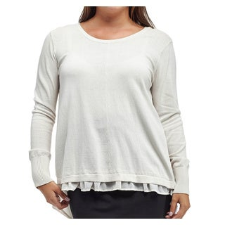 La Cera Women's Plus-size Long Sleeve Round-neck Sweater