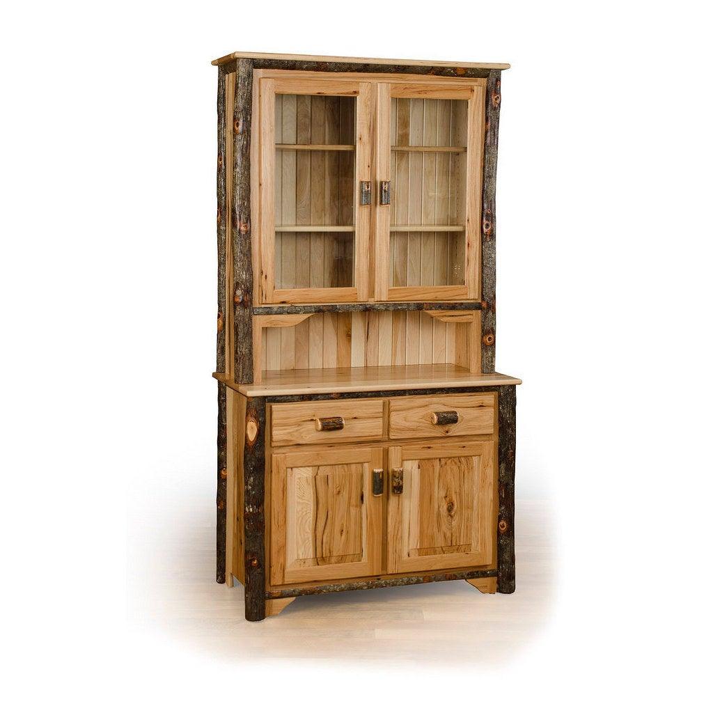 Rustic 2 Door Buffet and Hutch / China Cabinet (Hickory a...