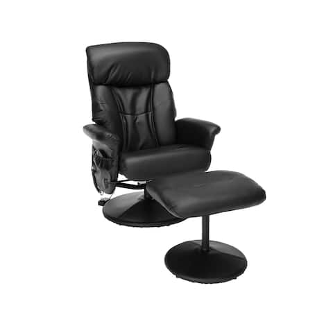 OFM Essentials Heated Shiatsu Massage Leather Recliner and Ottoman