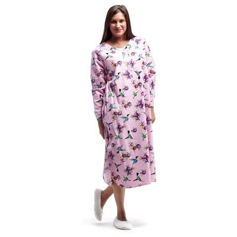La Cera Women's Blue/Pink Cotton Flannel Plus-size Hummingbird Printed Nightshirt