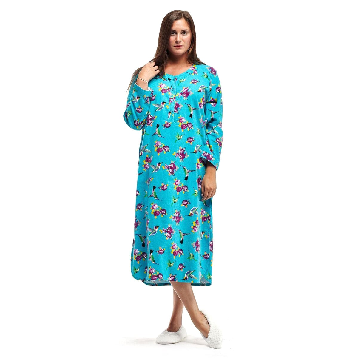 La Cera Women's Blue/Pink Cotton Flannel Plus-size Hummin...
