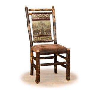 Two Rustic Hickory Medium Back Dining Chairs