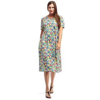 La Cera Women's Multicolor Cotton Short-sleeve A-line Knit Dress
