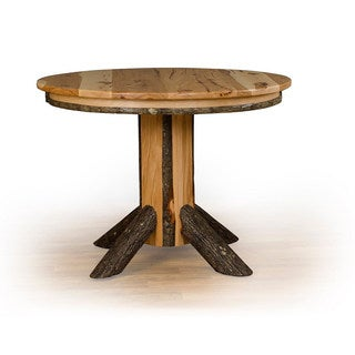 Rustic Hickory Single Pedestal Round Dining Table - Oak or Hickory Top