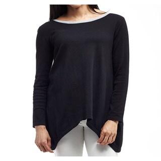 La Cera Women's Cotton Plus-size Long-sleeve Trapeze-hem Pullover Tunic
