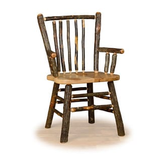 Two Stick Back Rustic Arm Chairs - Hickory & Oak or All Hickory