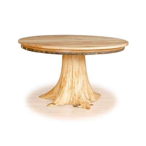Custom Hickory & White Cedar Stump Dining Table - Tan
