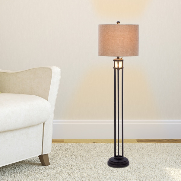 60 inch Black Metal & Frosted Glass Floor Lamp with Nightlight