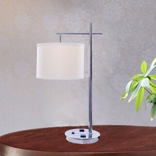 26 Inch Tech Friendly Metal Table Lamp In Chrome Finish With 2 Convenience  Outlets