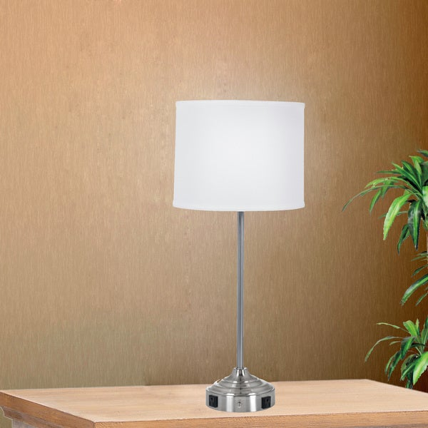 26 inch Tech-Friendly Brushed Steel Table Lamp with 2 Convenience Outlets