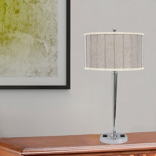 Designer 27 inch Tech-Friendly Chrome Metal Table Lamp