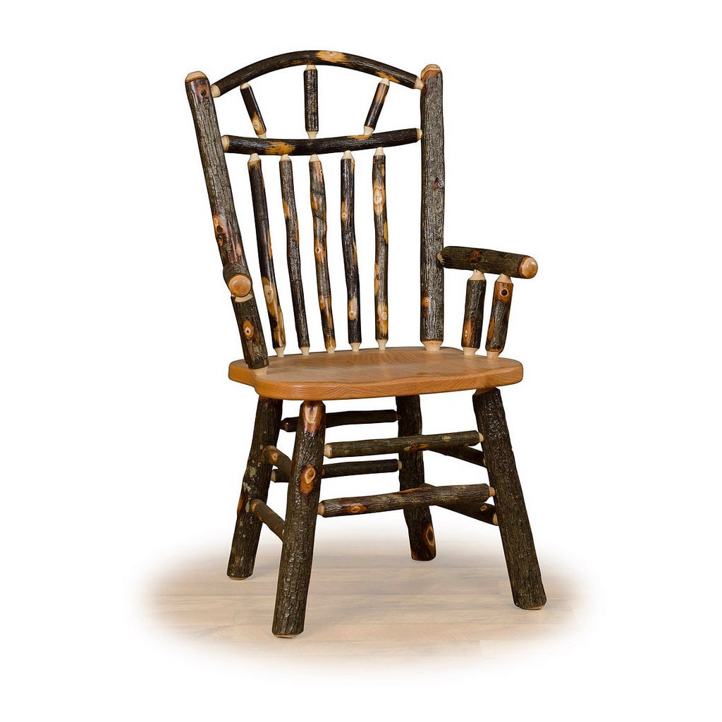 Two Wagon Wheel Rustic Arm Chairs - Hickory & Oak or All ...