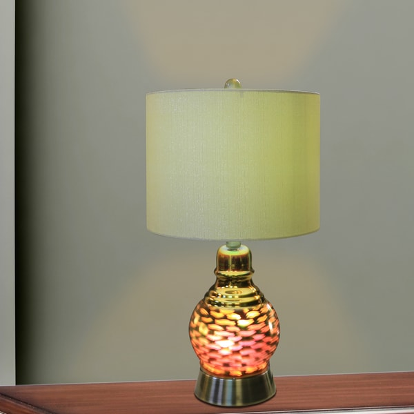 22.5 inch Antique Brass Metal and Glass Table Lamp With 3D Wave Nightlight Design