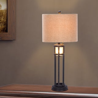 30 inch Black Metal & Frosted Glass Table Lamp with Nightlight