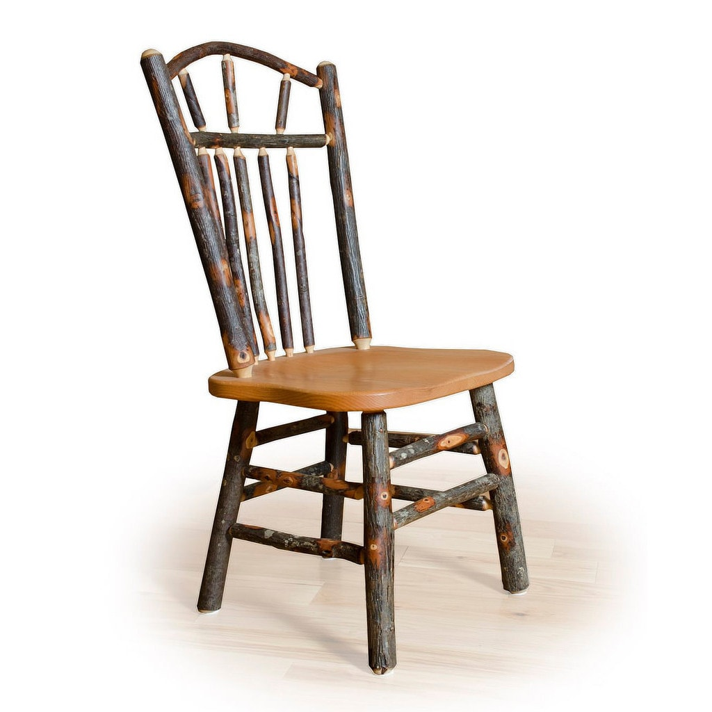 Two Wagon Wheel Rustic Dining Chairs - Hickory & Oak or A...