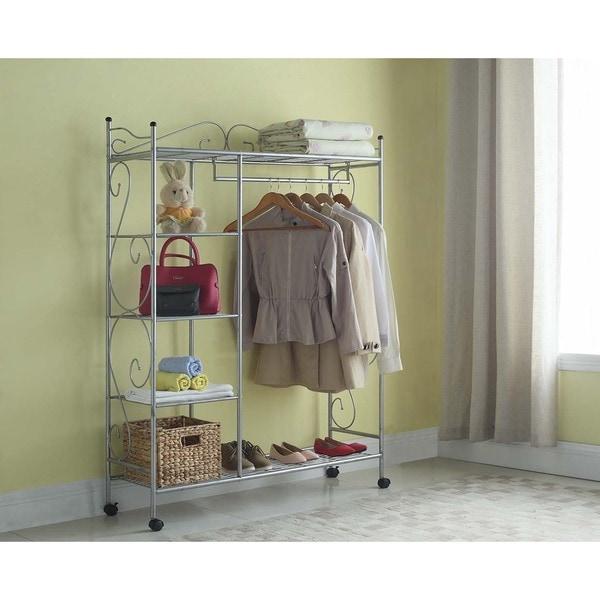 Artiva USA Home Storage Silver Grey Metal 66-inch 5-shelf Closet Organizer with Casters