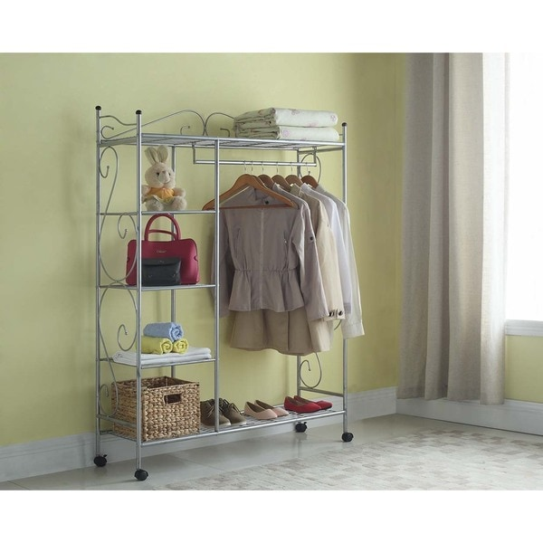 Artiva USA Home Storage Silver Grey Metal 66 Inch 5 Shelf Closet Organizer  With