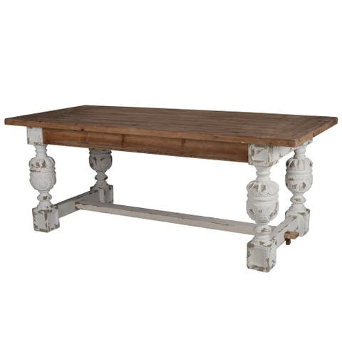 A&B Home Distressed White Wood Base Dining Table