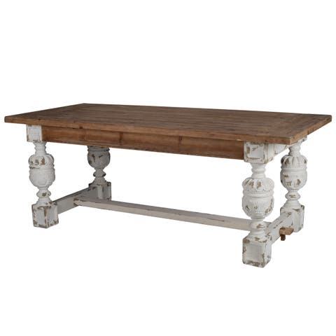 Distressed White Wood Base Dining Table