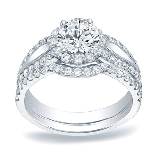 Auriya Platinum 1 1/2ct TDW Certified Round Diamond Halo Bridal Ring Set
