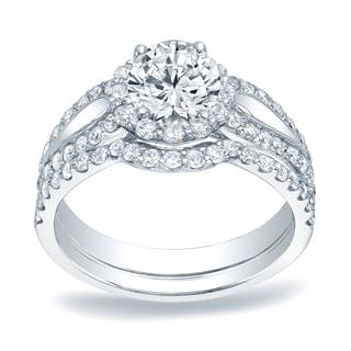 Auriya Platinum 1 1/2ct TDW Round Diamond Halo Bridal Ring Set (H-I, SI1-SI2)