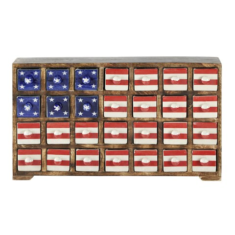 Curios Stars & Stripes 28 Drawer Brown Wood Apothecary Chest