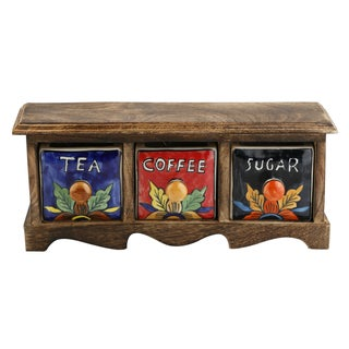 Curios Tea Coffee Sugar 3 Drawer Brown Wood Apothecary Chest