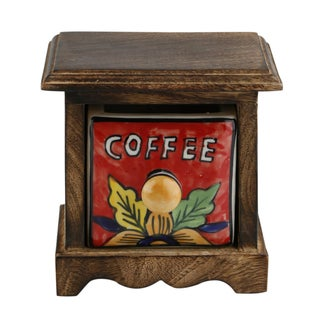 Curios Coffee Drawer Brown Wood Apothecary Chest