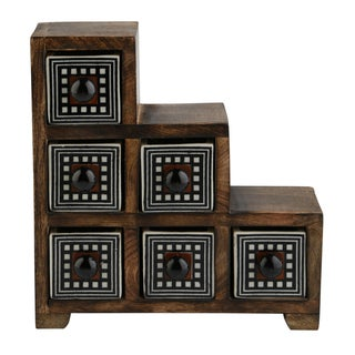 Curios 6 Drawer Brown Wood Apothecary Chest