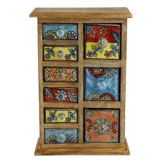 Curios 9 Drawer Light Brown Wood Apothecary Chest