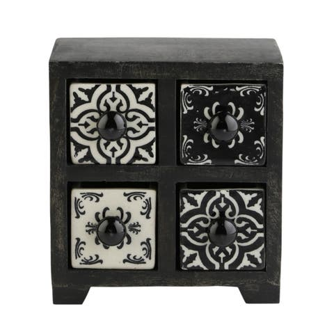 Curios 4 Drawer Black Wood Apothecary Chest