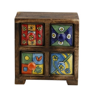 Curios 4 Drawer Brown Wood Apothecary Chest