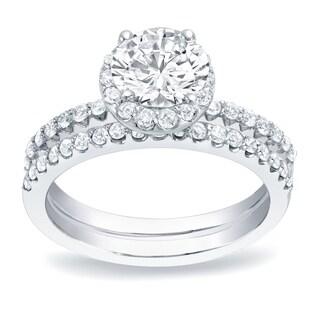 Auriya Platinum 1 1/4ct TDW Round Diamond Halo Bridal Ring Set (H-I, SI1-SI2)