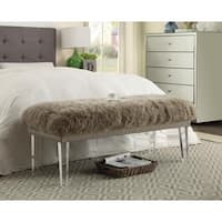 Shop Luxe White Sheepskin Lucite Bench Free Shipping