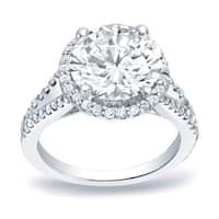 Auriya Platinum 1 3/4ct TDW Certified Round Diamond Halo Engagement Ring