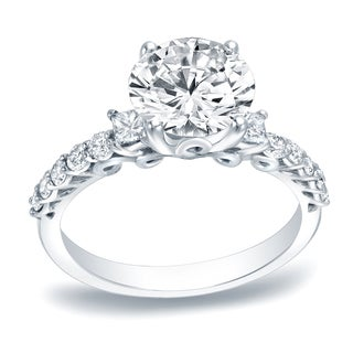 Auriya Platinum 1 2/5ct TDW Certified Round Cut Diamond Engagement Ring