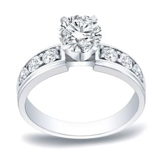 Auriya Platinum 1ct TDW Round Cut Diamond Engagement Ring